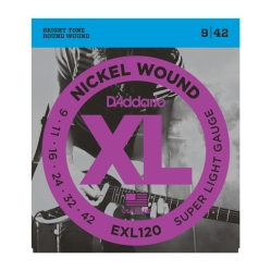 D`Addario EXL 120 XL NICKEL WOUND Струны для электрогитары Super Light, 9-42