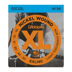 D`Addario EXL 140 XL NICKEL WOUND струны для электро-гитары Light Top/Heavy Bottom 10-52